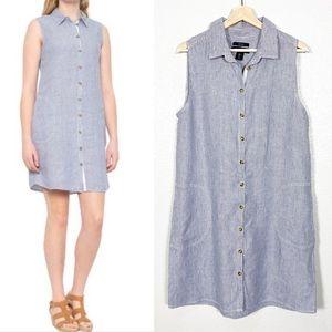 Tahari 100% Linen Sleeveless Shirt Dress Sz L